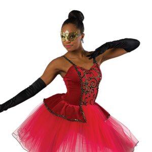 V2474  Glitter Flocked Mesh Ballet Tutu Red