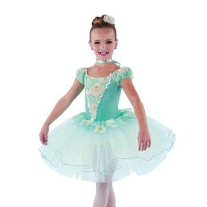 V2475  Floral Print Lace Ballet Tutu Aqua A