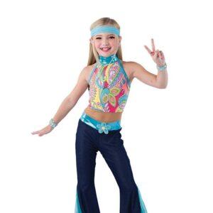V2477  Floral Print Hippy Jazz Dance Costume