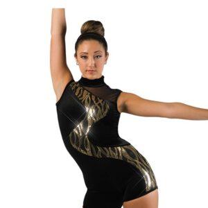 V2478  Velvet Wavy Sequin Acro Dance Shortall A