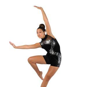 V2478  Velvet Wavy Sequin Acro Dance Shortall Silver
