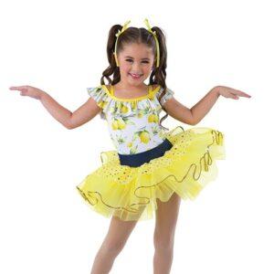 V2482  Lemon Print Glitter Tap Dance Costume
