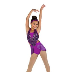V2484  Teardrop Sequin Mesh Jazz Dance Shortall