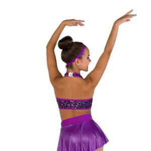 V2484  Teardrop Sequin Mesh Jazz Dance Shortall Back