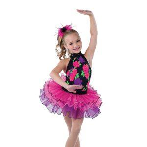 V2485  Kids Floral Print Tap Dance Costume
