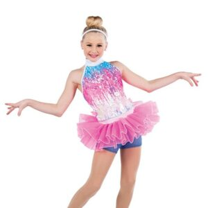 V2489  Ombre Sequin Spandex Jazz Dance Costume A