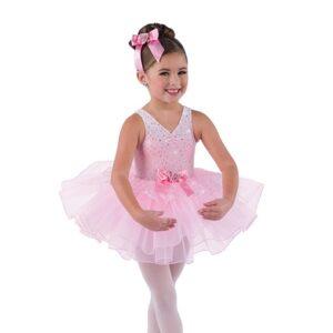 V2492  Kids Sequin Glitter Ballet Tutu Candy Pink