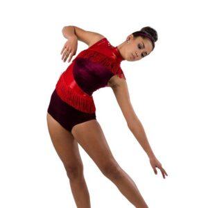V2494  Velvet Sparkle Spandex Acro Dance Shortall