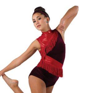 V2494  Velvet Sparkle Spandex Acro Dance Shortall A