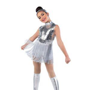V2497  Paillette Sequin Metallic Fringed Jazz Dance Shortall Silver