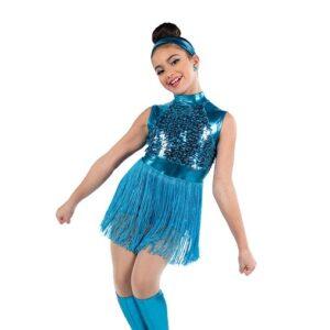 V2497  Paillette Sequin Metallic Fringed Jazz Dance Shortall Turquoise