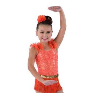 V2500  Ruched Foil Mesh Fringed Jazz Dance Costume A
