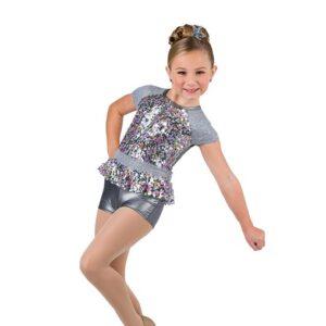 V2502  Star Girl Multicolour Sequin Foil Jazz Dance Shortall
