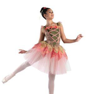 V2508T  Floral Lace Ballet Leotard With Tutu Skirt