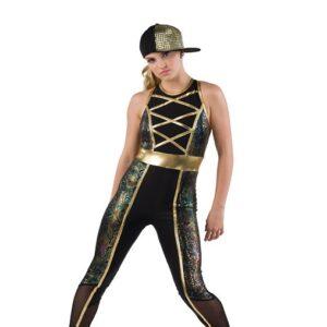 V2510  Snakeskin Print Hip Hop Dance Unitard