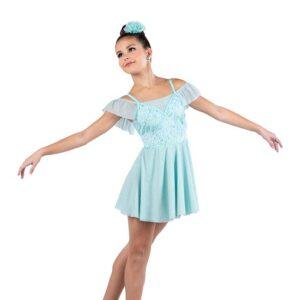 V2511  Sequin Embroidered Mesh Lyrical Dance Dress