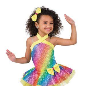 V2512Y 8 Kids Rainbow Sequin Jazz Tap Dance Costume