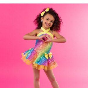 V2512Y  Kids Rainbow Sequin Jazz Tap Dance Costume C