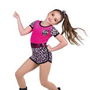 V2513  Feel Alive Glitter Leopard Print Hip Hop Dance Shortall