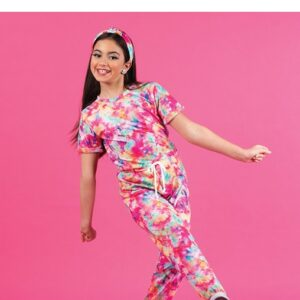 V2515Y  Tiedye Terry Kinit Jazz Dance Jumpsuit B