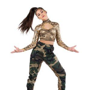 V2517  Foil Velvet Camo Print Hip Hop Dance Costume