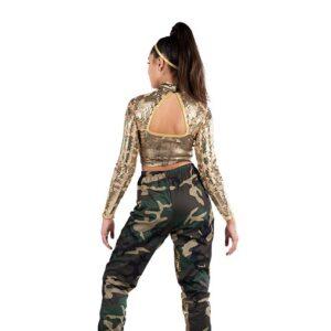 V2517  Foil Velvet Camo Print Hip Hop Dance Costume Back