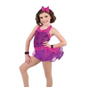 V2519  Sequin Mesh Jazz Dance Shortall Purple