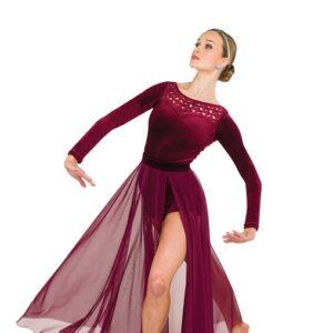 V2528 SK  Dimensions Long Mesh Acro Dance Skirt Burgundy With Shortall