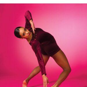 V2528Y  Velvet Long Sleeve Acro Dance Shortall B