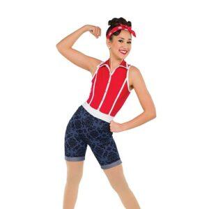 V2529  Flock Velvet Spandex Jazz Dance Costume