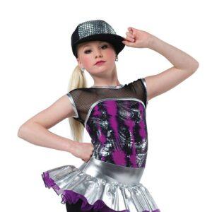 V2533  Calling All Monsters Foil Print Hip Hop Dance Shortall