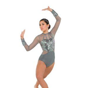 V2539  Metallic Sequin Acro Dance Shortall