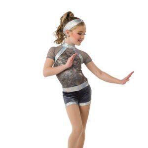 V2542  Tiedye Foil Dot Spandex Jazz Dance Shortall