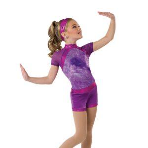 V2542  Tiedye Foil Dot Spandex Jazz Dance Shortall Orchid