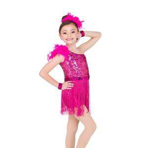 V2544  Gloria Rectangle Sequin Fringed Jazz Dance Costume