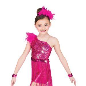 V2544  Gloria Rectangle Sequin Fringed Jazz Dance Costume Fuchsia