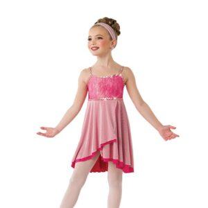 V2547  Safe And Sound Kids Shimmer Tiedye Lyrical Dance Dress Blush