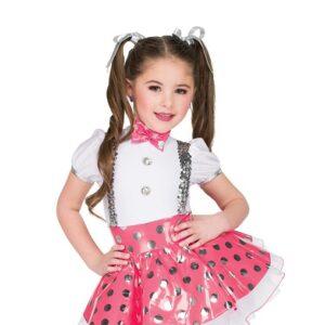 V2548  Polka Dot Vinyl Tap Dance Costume Bubblegum Pink