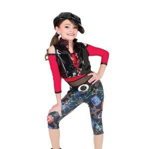 V2551  Neon Print Foil Lycra Hip Hop Dance Costume