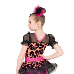 V2552  Kids Foil Leopard Print Tap Dance Costume Back