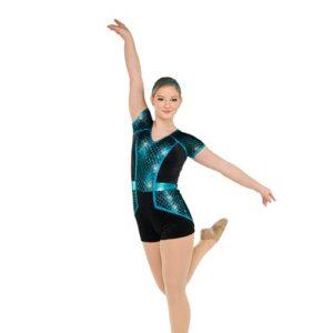 V2553  Diamond Sequin Mesh Jazz Dance Shortall