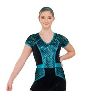V2553  Diamond Sequin Mesh Jazz Dance Shortall Turquoise